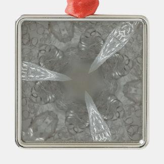 Antique Silver Gray Decorative Kaleidoscopic Silver-Colored Square Ornament