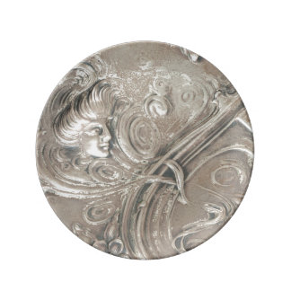 Antique Silver Lady Art Nouveau Vintage Porcelain Plates