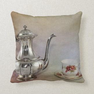 Antique Silver Tea Pot and Bone China Cup Throw Pillow