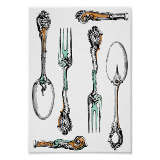Antique silverware design poster