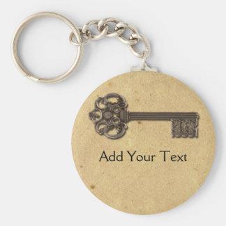 Antique Skeleton Key Basic Round Button Keychain