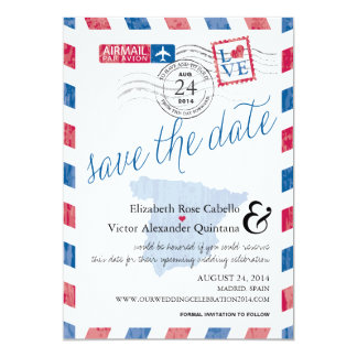 """Antique Spain Airmail Save the Date 5"""" X 7"""" Invitation Card"""