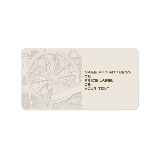 Antique Spinning Wheel Arts Craft Address Price Label