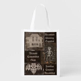 Antique Spooky Gothic Goth Cute Trio Reusable Grocery Bag