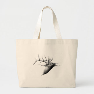Antique stag art drawing handmade nature large tote bag