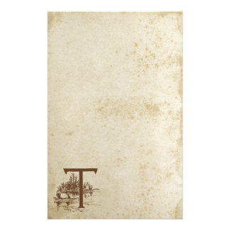 Antique Stained Letter T Blank Stationery Paper