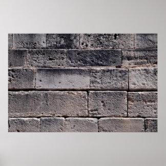 Antique stone wall, Phaistos, Crete, Greece Poster