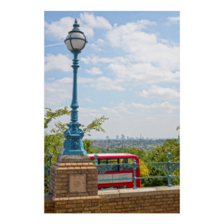 antique street light and red london bus poster