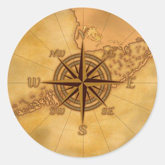 Antique Style Compass Rose Classic Round Sticker