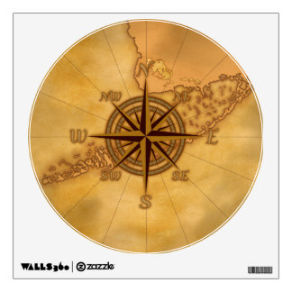 Antique Style Compass Rose Wall Sticker