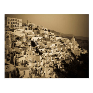 Antique style postcards of Fira, Santorini