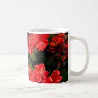 Antique Style Red Geranium Flowers  Gifts Coffee Mug