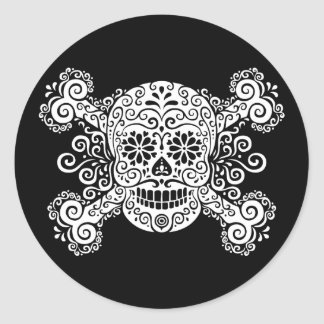 Antique Sugar Skull & Crossbones Classic Round Sticker