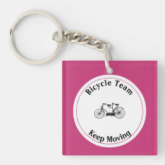 Antique tandem Double-Sided square acrylic keychain