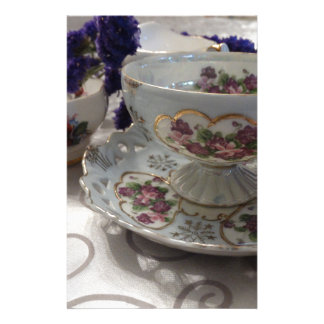 Antique Tea Cup and Saucer With Antique Sugar Bowl Stationery