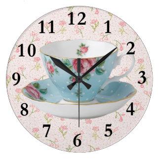 ANTIQUE TEA CUP & SAUCER CLOCK