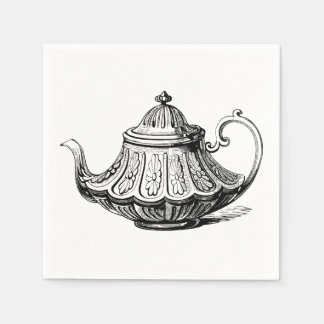 Antique Teapot Illustration Paper Napkin