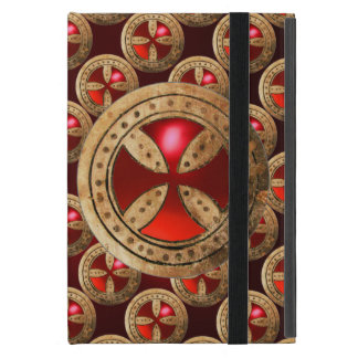 ANTIQUE TEMPLAR CROSS Red Ruby Gem Cover For iPad Mini