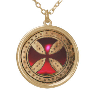 ANTIQUE TEMPLAR CROSS Red Ruby Gem Gold Plated Necklace