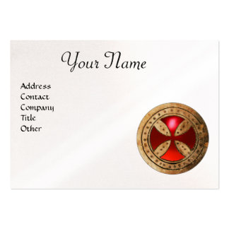 ANTIQUE TEMPLAR CROSS Red Ruby Gem Monogram Pearl Large Business Card