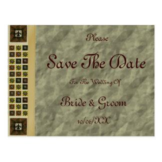 Antique Tiled Fleur de Lis (Brown) (Save The Date) Postcard