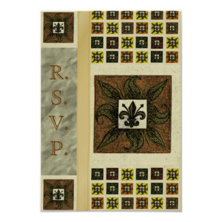 "Antique Tiled Fleur de Lis (Brown) (Wedding) 3.5"" X 5"" Invitation Card"