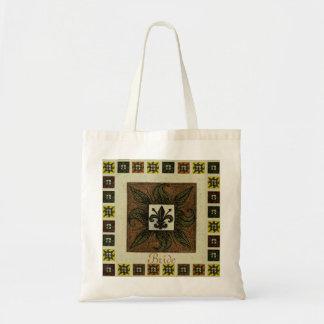 Antique Tiled Fleur de Lis (Brown) (Wedding) Budget Tote Bag