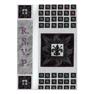 "Antique Tiled Fleur de Lis (Purple) (Wedding) 3.5"" X 5"" Invitation Card"