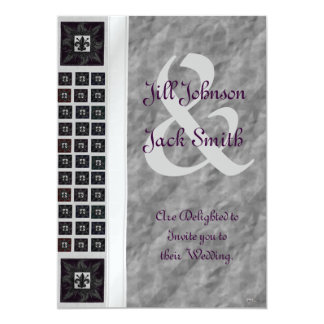 "Antique Tiled Fleur de Lis (Purple) (Wedding) 5"" X 7"" Invitation Card"