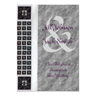 """Antique Tiled Fleur de Lis (Purple) (Wedding) 5"""" X 7"""" Invitation Card"""