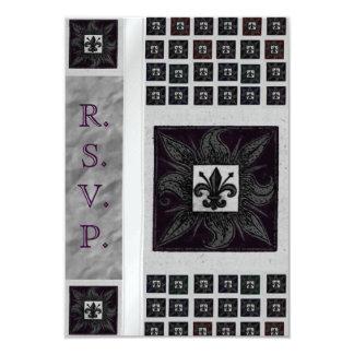 """Antique Tiled Fleur de Lis (Purple) (Wedding) 3.5"""" X 5"""" Invitation Card"""