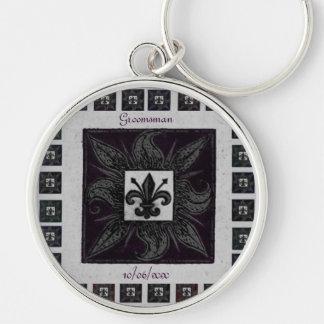 Antique Tiled Fleur de Lis (Purple) (Wedding) Silver-Colored Round Keychain