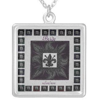 Antique Tiled Fleur de Lis (Purple) (Wedding) Square Pendant Necklace