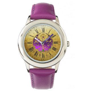 ANTIQUE TIME Purple Amethyst Gemstones,Gold Yellow Watch