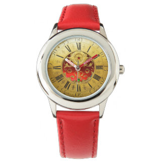 ANTIQUE TIME Red Ruby Gemstones,Gold Yellow Watch