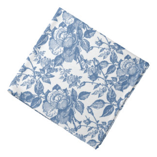 Antique Toile Blue Rose Inspired Bandana