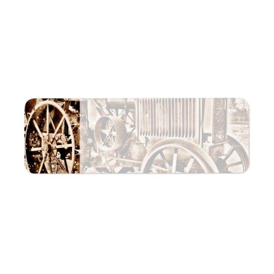 Antique Tractor Farm Equipment Classic Sepia Return Address Label