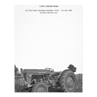 Antique Tractor in Black and White Personalized Letterhead