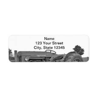 Antique Tractor in Black and White Return Address Return Address Label