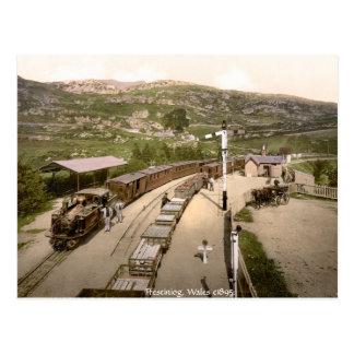 Antique train, Ffestiniog railway station Postcard