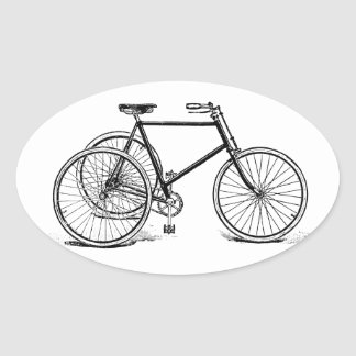 Antique Tricycle Oval Stickers