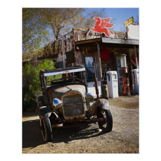 Antique truck at general store in the American Poster