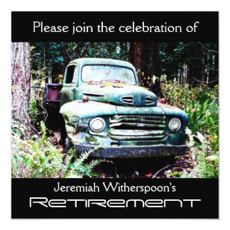 "Antique Truck Retirement Party 5.25"" Square Invitation Card"