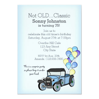 """Antique Truck with Balloons Birthday 5"""" X 7"""" Invitation Card"""