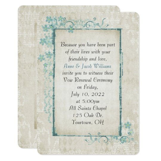 antique turquoise floral frame for Vow Renewal Card