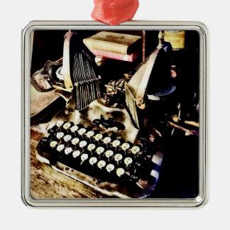 Antique Typewriter Oliver #9 Metal Ornament