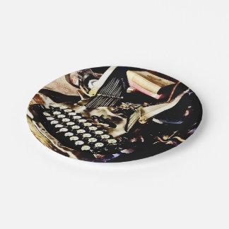 Antique Typewriter Oliver #9 Paper Plate