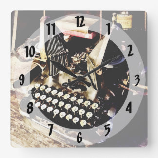 Antique Typewriter Oliver #9 Square Wall Clock