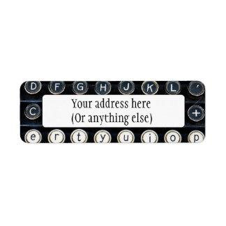 Antique Typewriter Return Address Label
