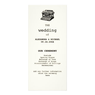 Antique Typewriter Wedding Program Full Colour Rack Card